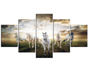 5 Panels Running Horse Modern Painting Canvas (Unframed)