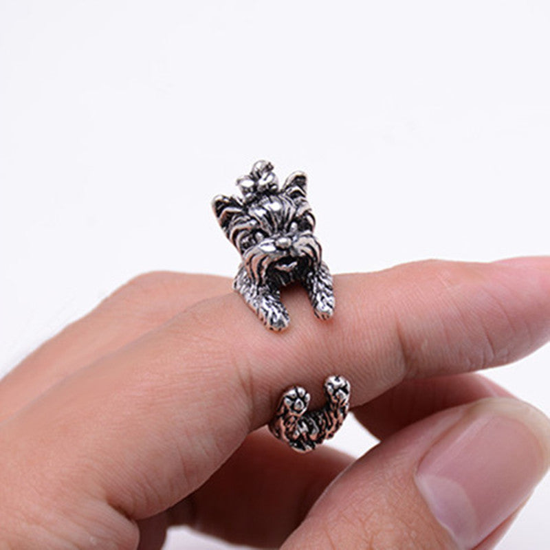 Vintage Yorky Terrier Resizable Rings