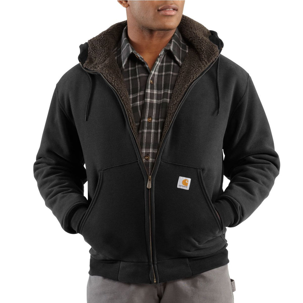 Carhartt Men's Black Collinston Brushed Fleece Sherpa Lined Sweatshirt