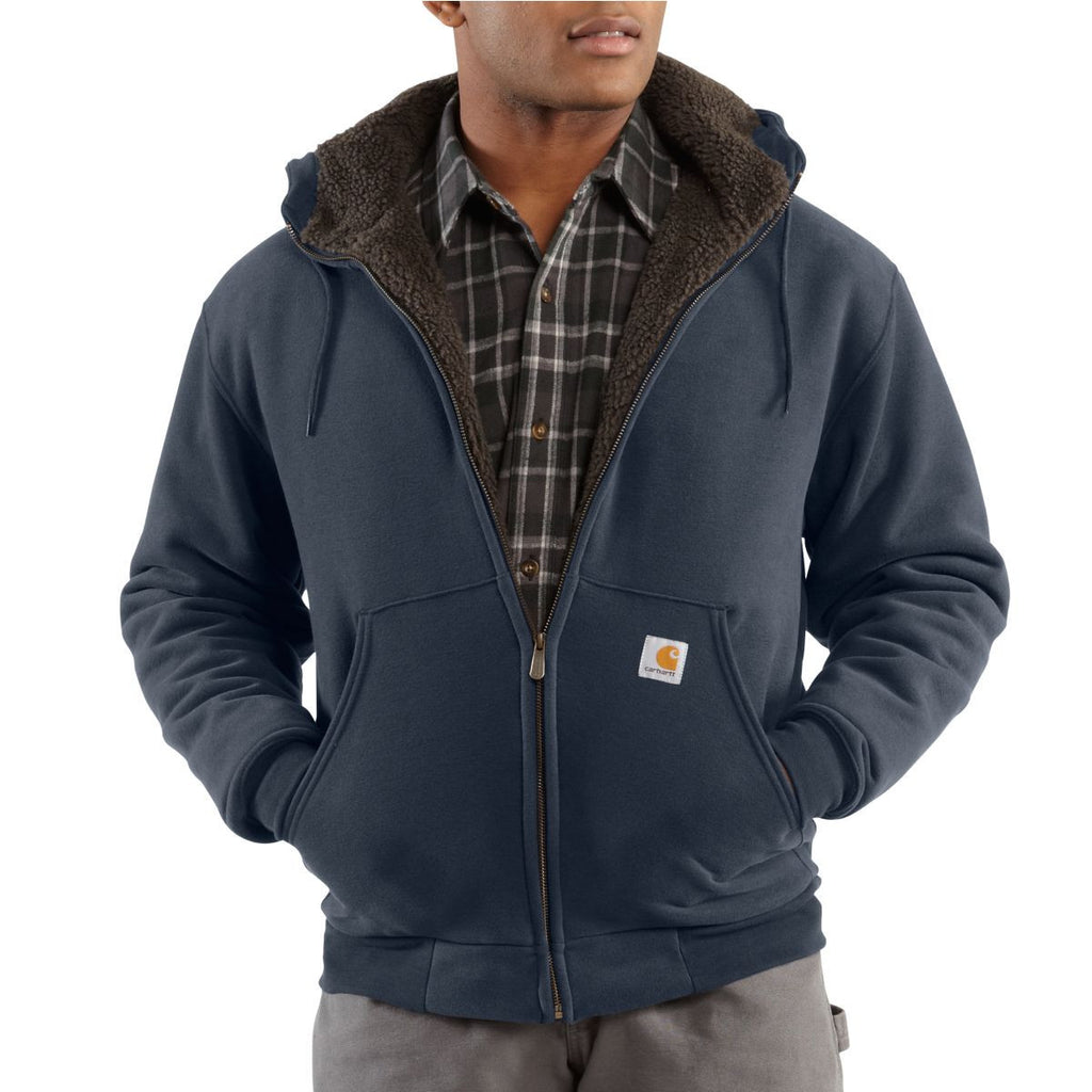 Carhartt Men's New Navy Collinston Brushed Fleece Sherpa Lined Sweatshirt