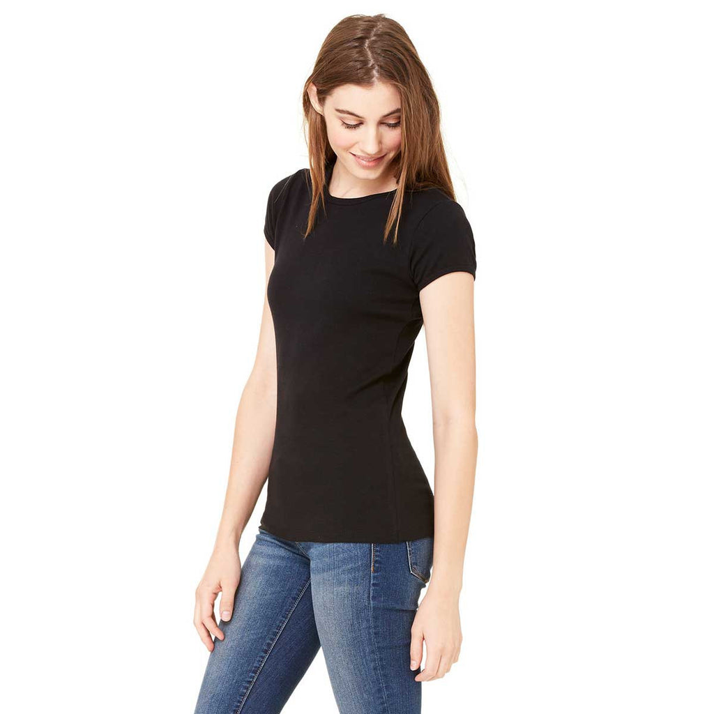 Bella + Canvas Women's Black Stretch Rib Short-Sleeve T-Shirt