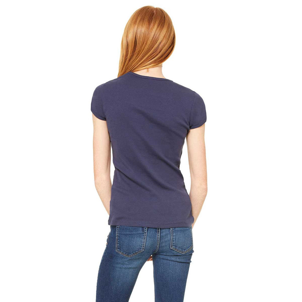 Bella + Canvas Women's Navy Stretch Rib Short-Sleeve T-Shirt