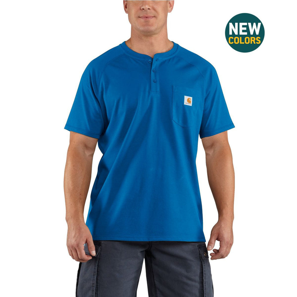 Carhartt Men's Cool Blue Force Cotton Delmont Short Sleeve Henley