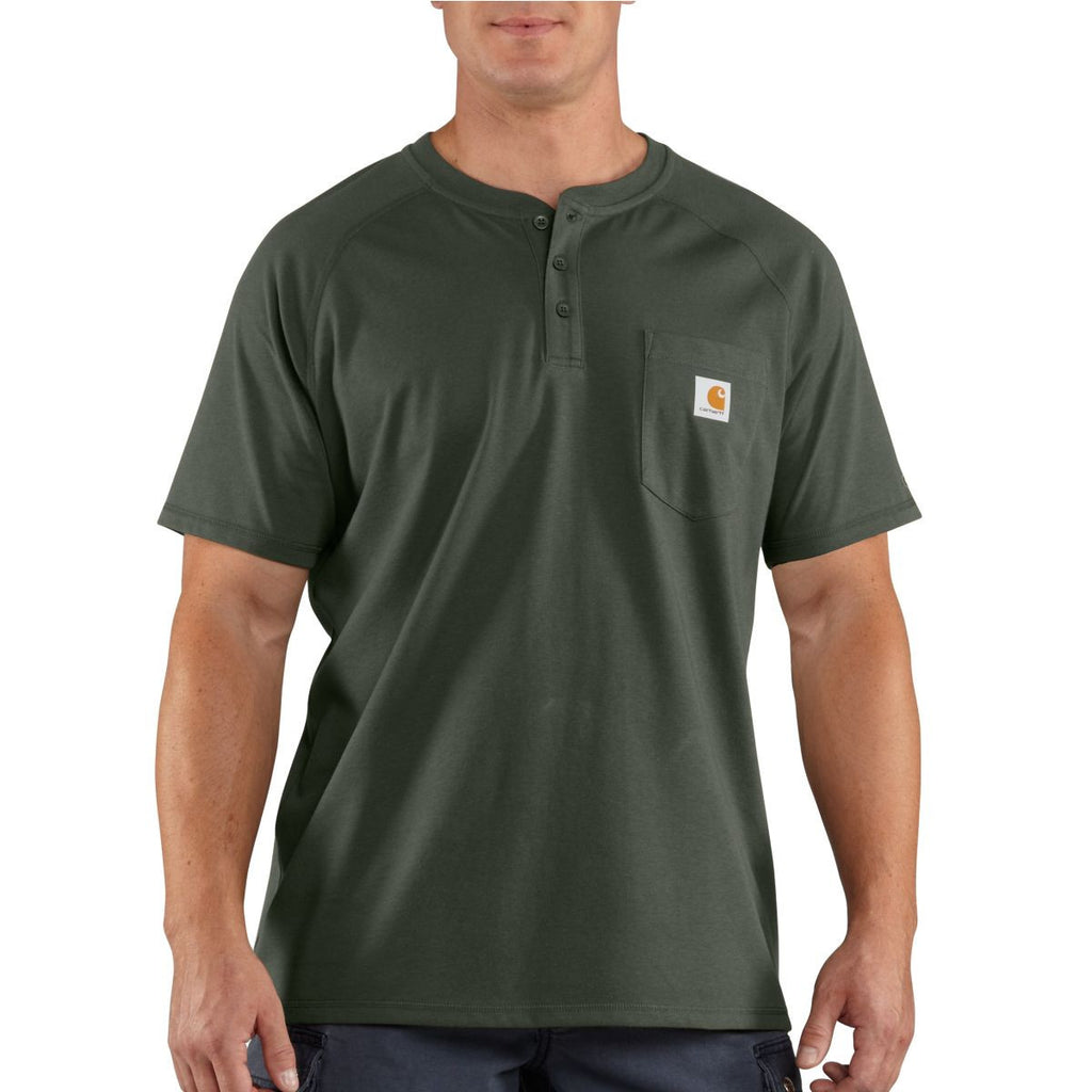 Carhartt Men's Moss Force Cotton Delmont Short Sleeve Henley