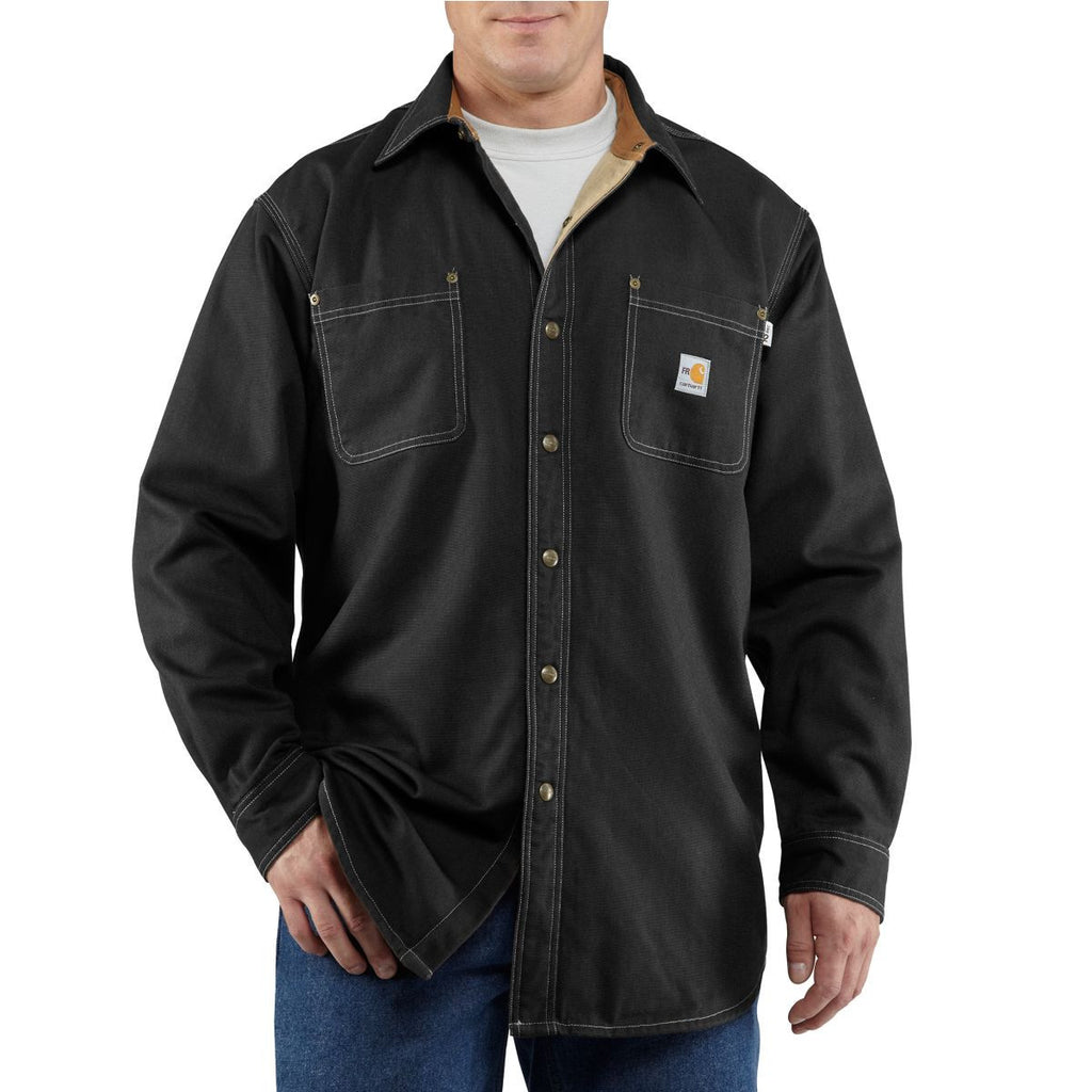 Carhartt Men's Black Flame-Resistant Canvas Shirt Jacket