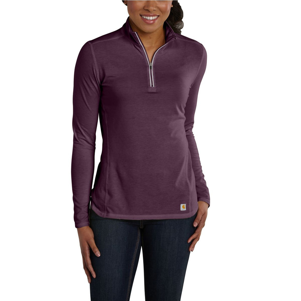Carhartt Women's Potent Purple Heather Force Quarter Zip Shirt