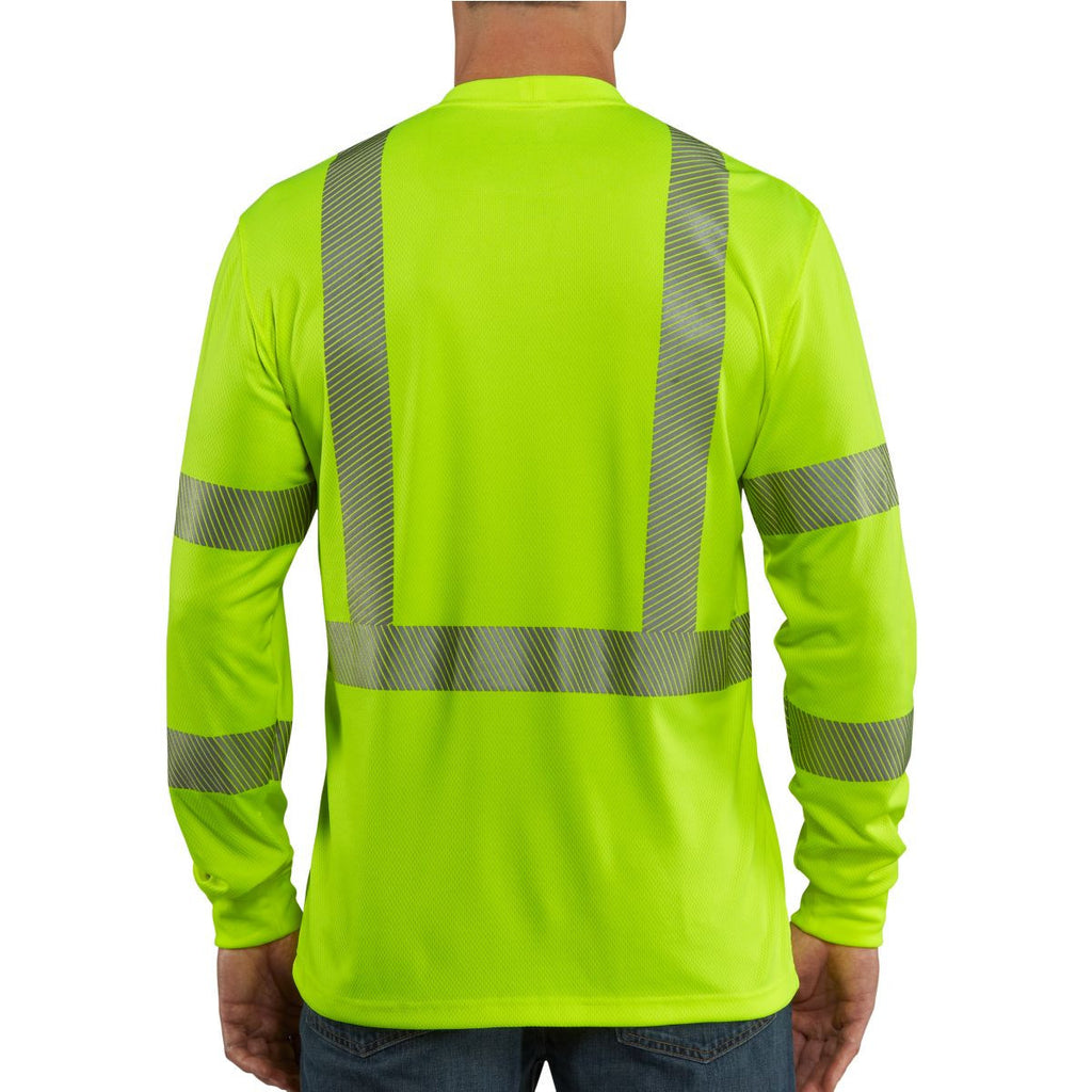 Carhartt Men's Brite Lime High Visibility Force Long Sleeve Class 3 Tee