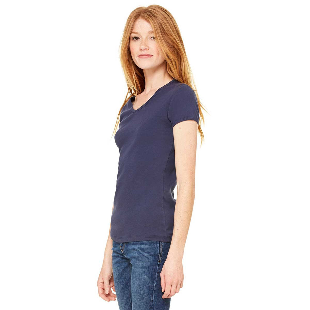 Bella + Canvas Women's Navy Stretch Rib Short-Sleeve V-Neck T-Shirt
