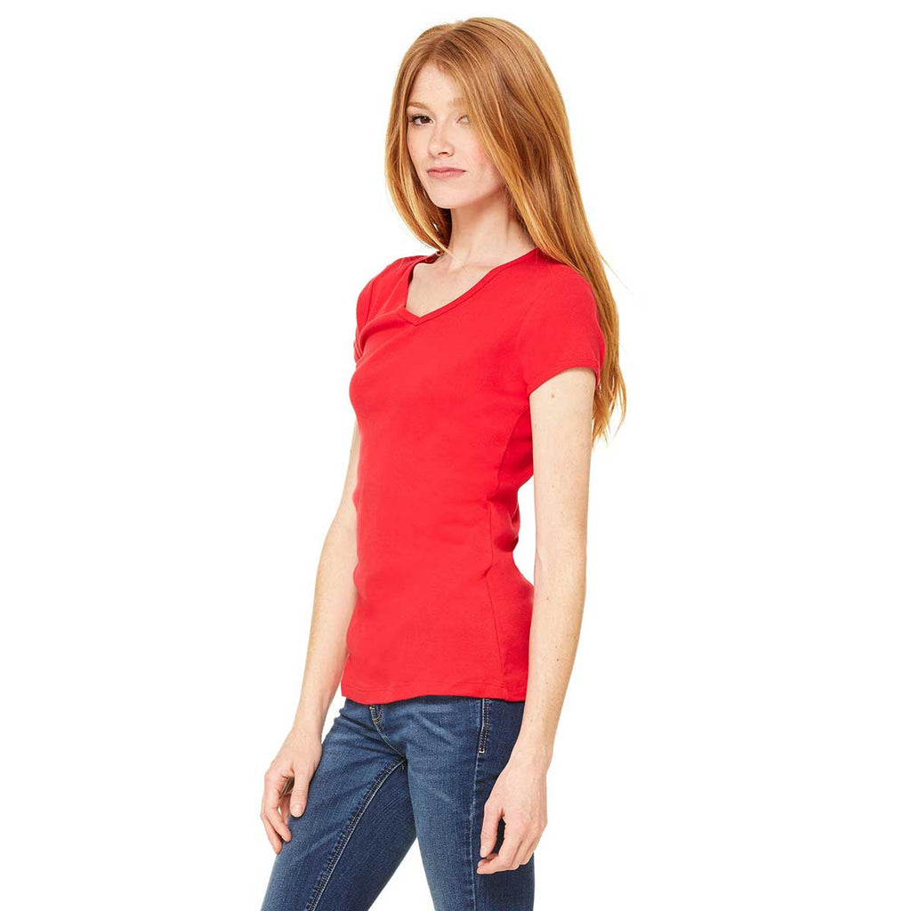 Bella + Canvas Women's Red Stretch Rib Short-Sleeve V-Neck T-Shirt
