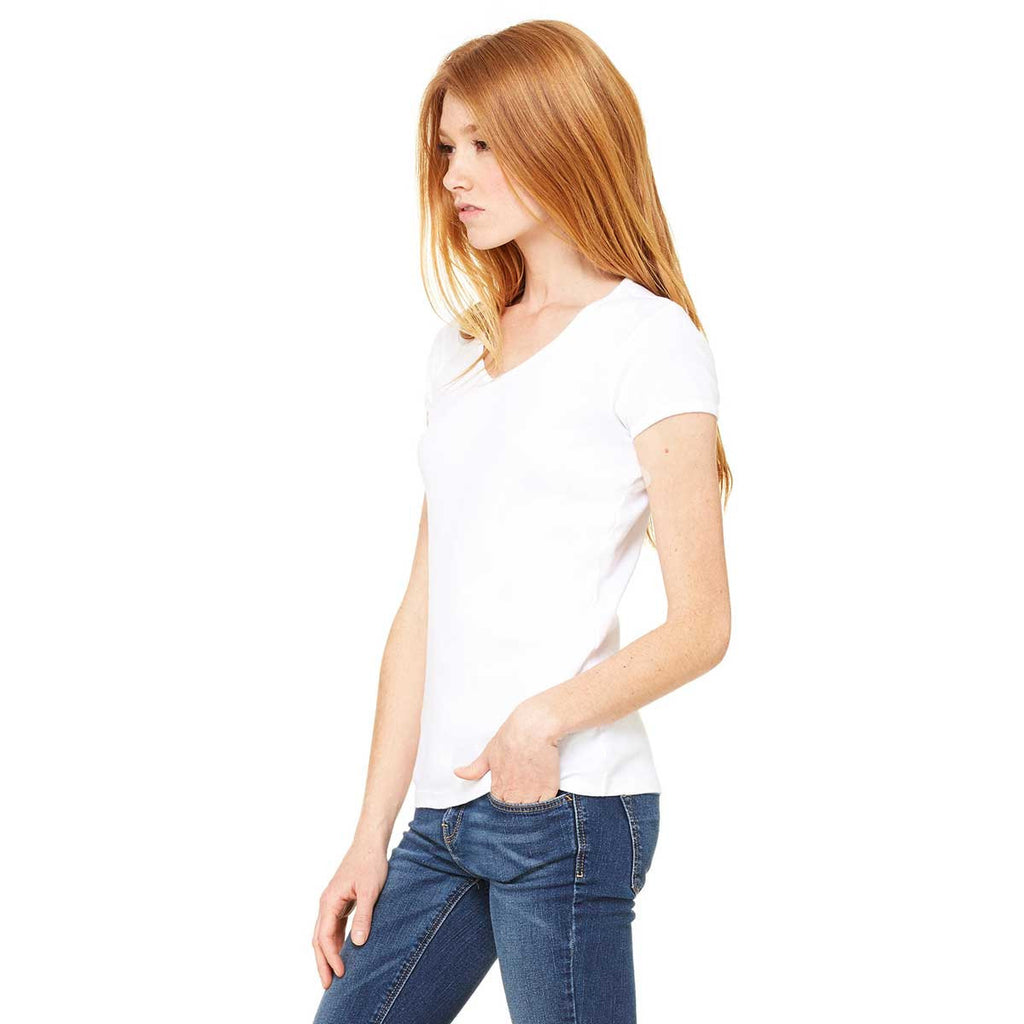 Bella + Canvas Women's White Stretch Rib Short-Sleeve V-Neck T-Shirt