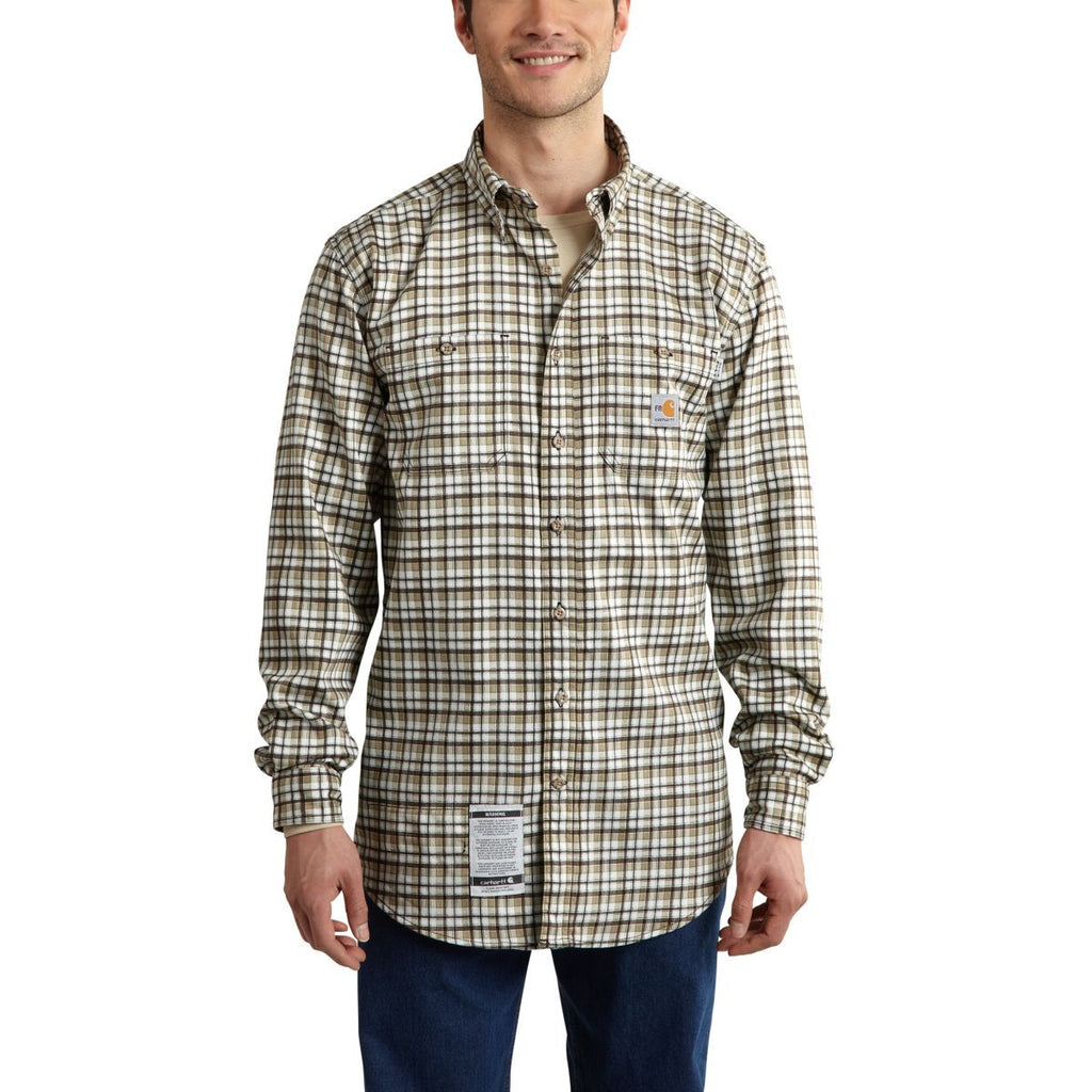 Carhartt Men's Golden Khaki Flame-Resistant Classic Plaid Shirt