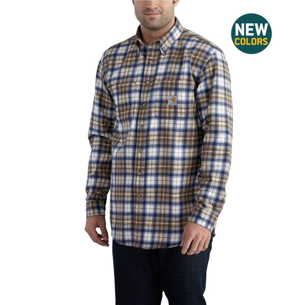Carhartt Men's Mid Brown/Navy Flame-Resistant Classic Plaid Shirt