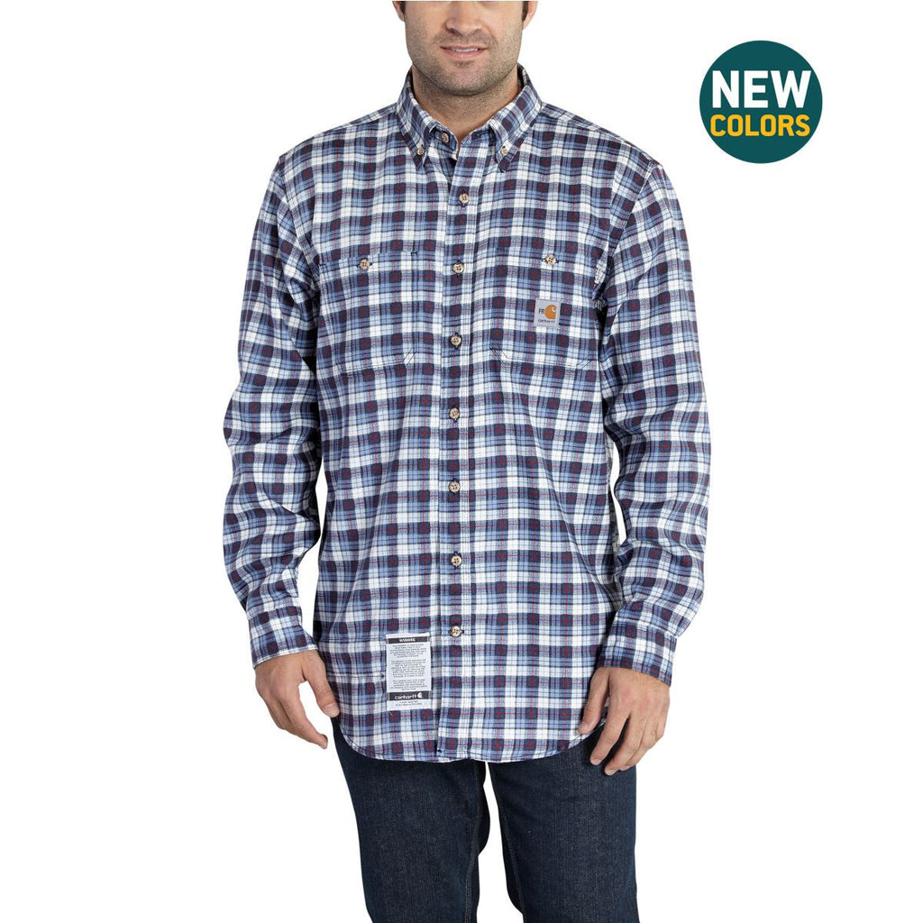 Carhartt Men's Navy Flame-Resistant Classic Plaid Shirt