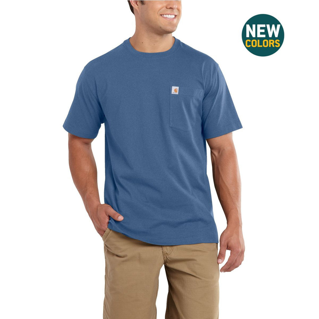 Carhartt Men's Tidal Blue Heather Maddock Pocket Short Sleeve T-Shirt
