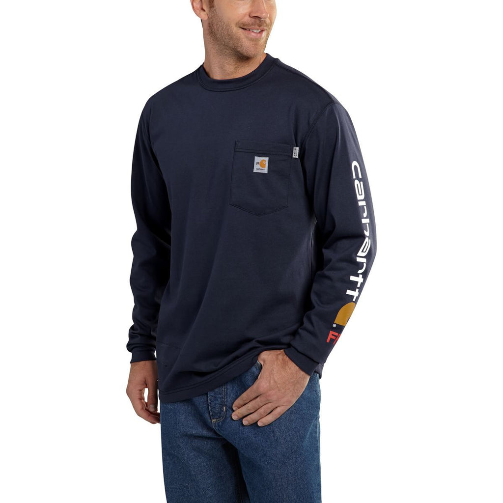 Carhartt Men's Dark Navy Flame-Resistant Force Cotton Graphic Long Sleeve T-Shirt