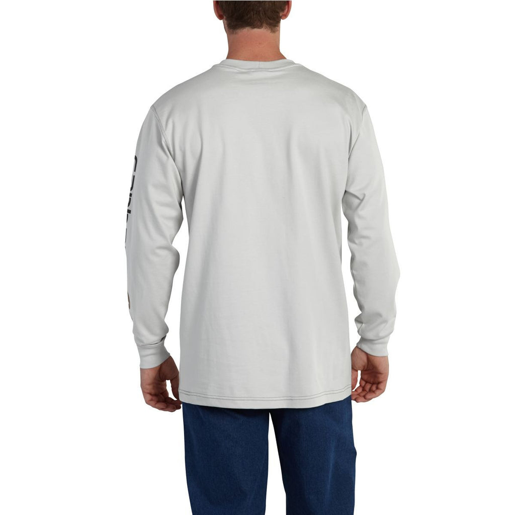 Carhartt Men's Light Grey Flame-Resistant Force Cotton Graphic Long Sleeve T-Shirt