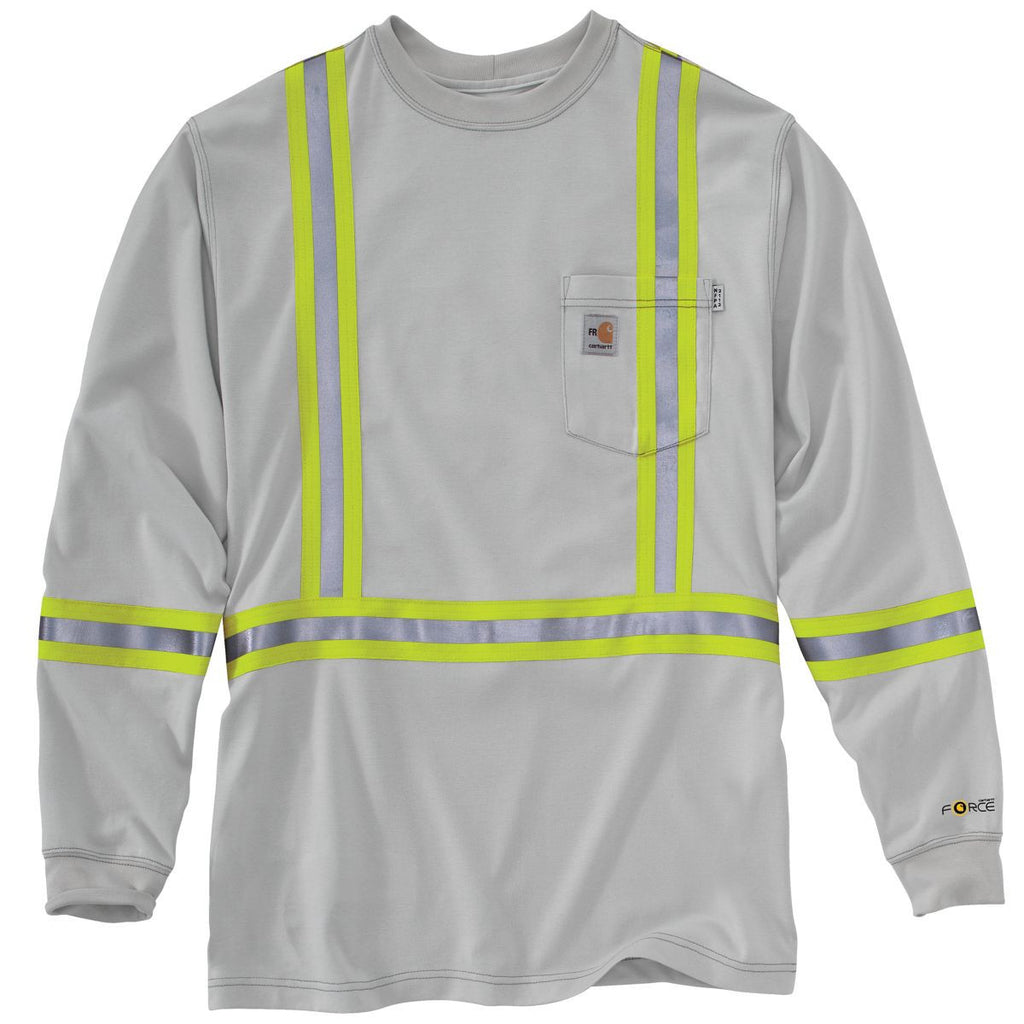 51c71098f6c Carhartt Men s Light Grey Flame-Resistant Striped Force Cotton Long Sleeve  T-Shirt. ADD YOUR LOGO