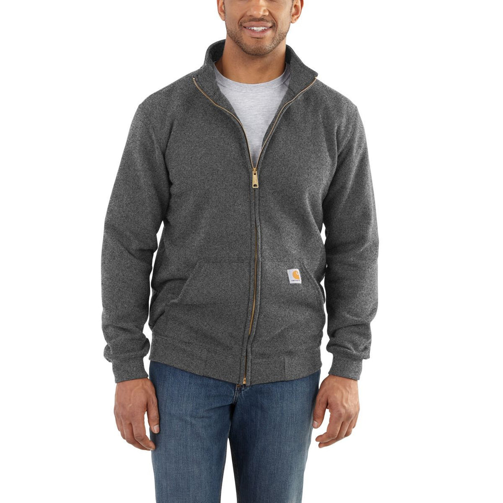 Carhartt Men's Charcoal Heather Haughton Midweight Mock Neck Zip Sweatshirt
