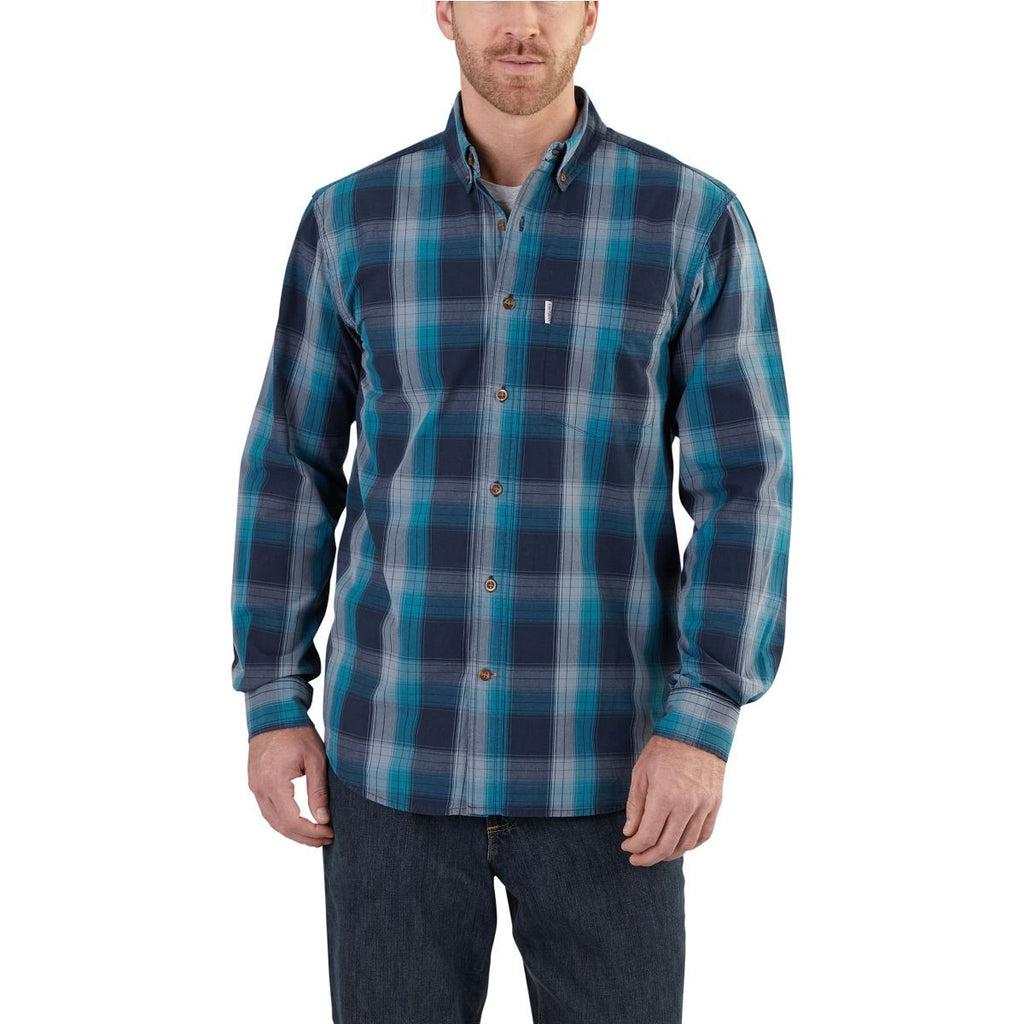 Carhartt Men's Navy Essential Plaid Button Down Long Sleeve Shirt
