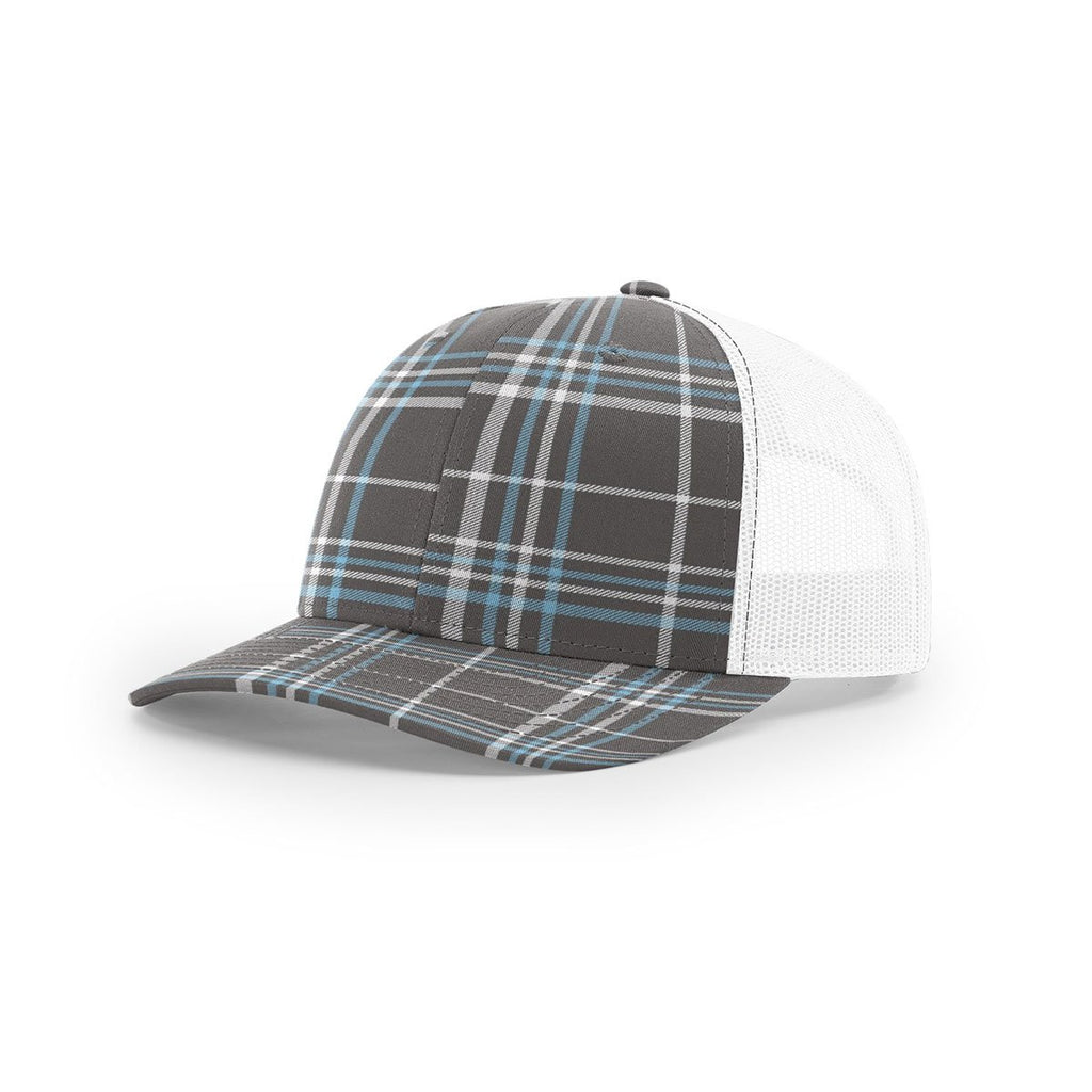 9d85dd64423 Richardson Charcoal Columbia Blue White Mesh Back Plaid Printed Trucker Hat