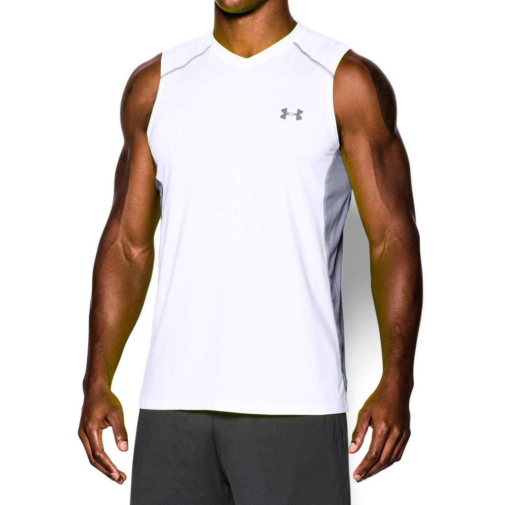 Under Armour Men's White UA Raid Sleeveless T-Shirt