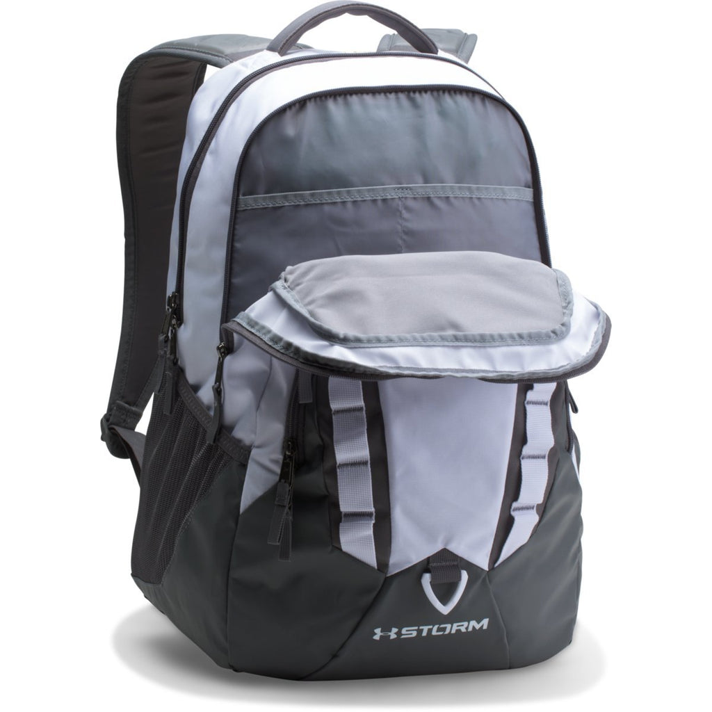 1ddc4adae682 Under Armour White/Graphite Storm Recruit Backpack