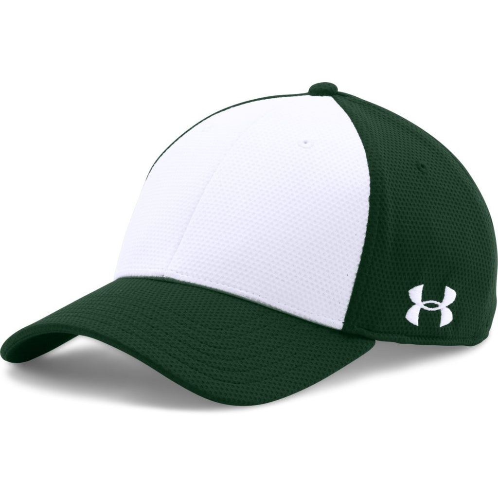Under Armour Forest Green White Color Blocked Blitzing Cap. ADD YOUR LOGO 4e6abe84b52
