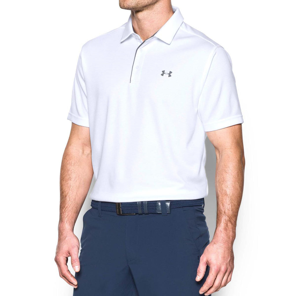 Under Armour Men's White/Graphite/Graphite Tech Polo