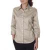 Van Heusen Women's Khaki 3/4 Sleeve Twil Dress Shirt