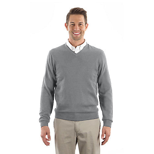 Van Heusen Men's Grey Long Sleeve V-Neck Sweater