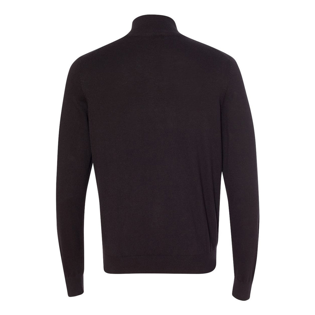 Van Heusen Men's Black Long Sleeve Quarter Zip Knit Sweater
