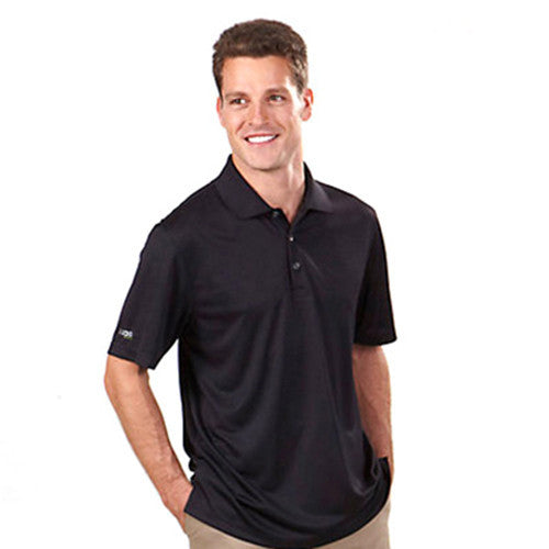 IZOD Men's Black Performance Polyester Solid Dobby Polo