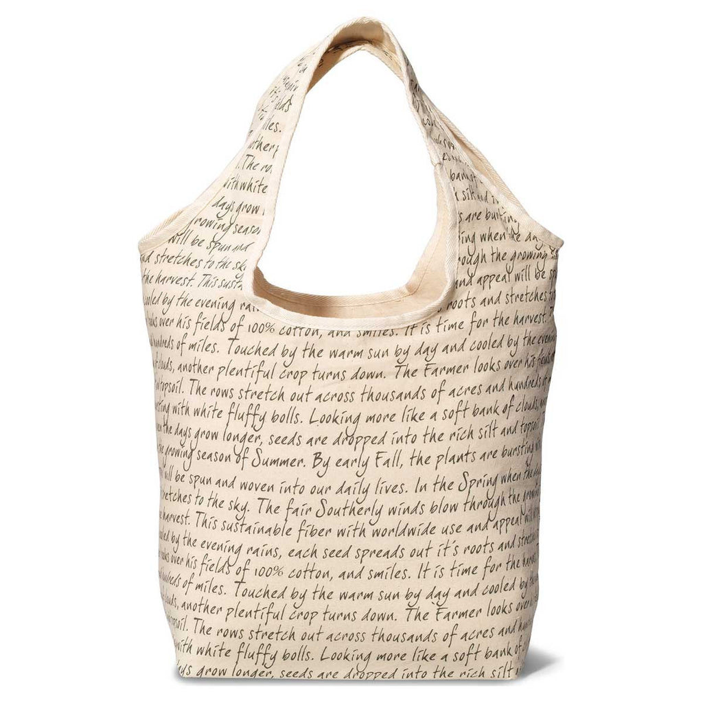 Gemline Natural/Script Pattern Reversible Cotton Tote