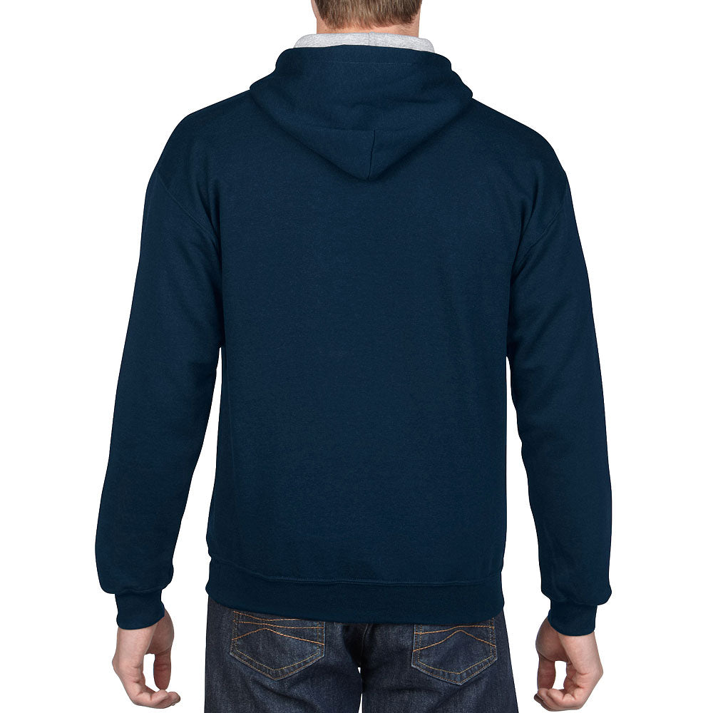 Gildan Men's Navy/Sport Grey Contrast Hooded Sweatshirt
