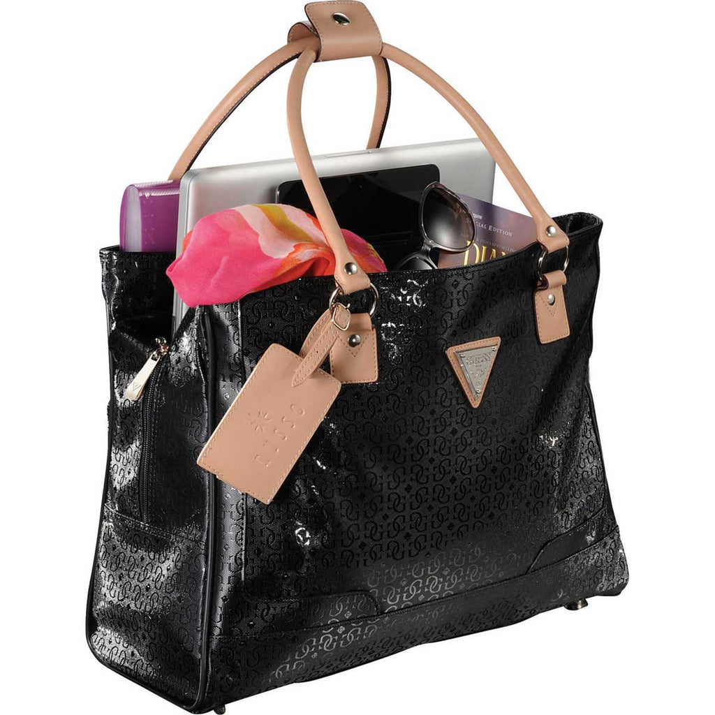 "Guess Women's Black Frosted 15"" Computer Shopper Travel Tote"