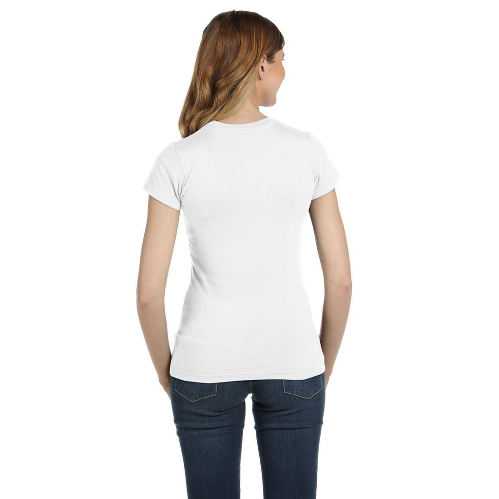 Anvil Women's White Ringspun Fitted T-Shirt