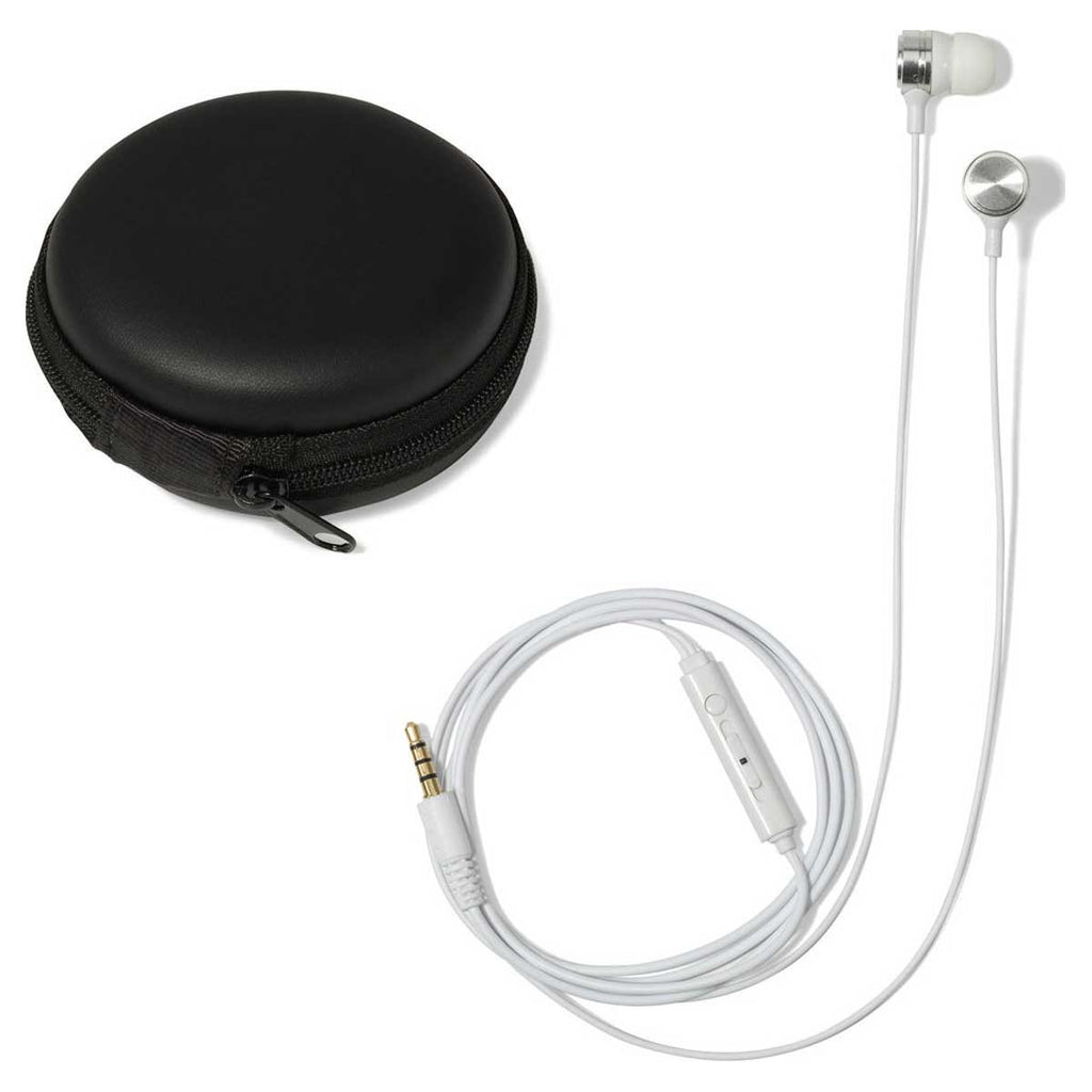 Gemline White Bolt Ear Buds with Mic & Volume Control