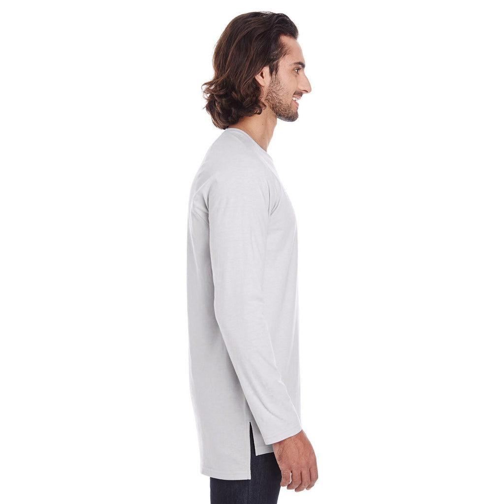 Anvil Men's Silver Lightweight Long & Lean Raglan Long Sleeve T-Shirt