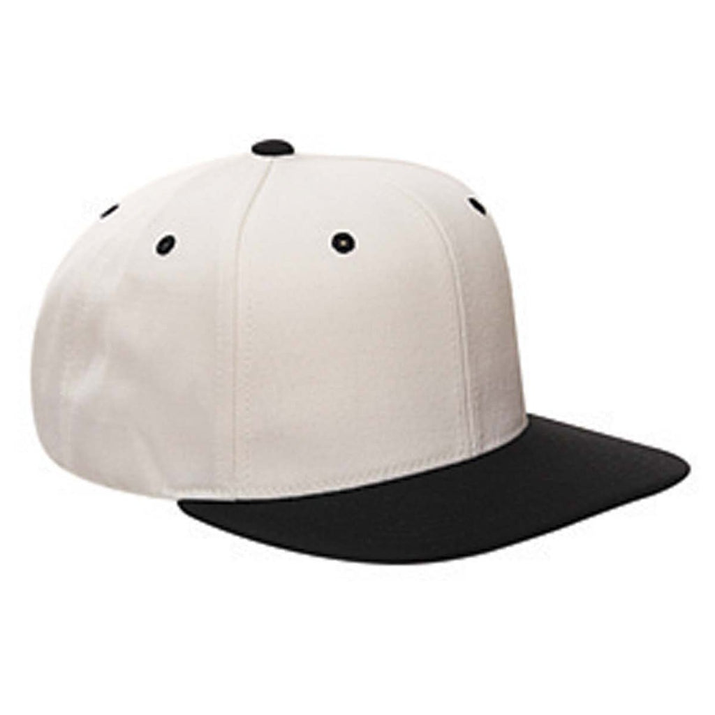 2bf59822bb0 Yupoong Natural Black 6-Panel Structured Flat Visor Classic Snapback