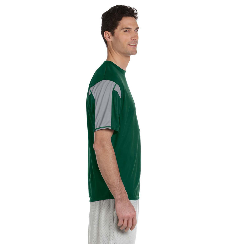 Russell Athletic Men's Dark Green/Steel Short-Sleeve Performance T-Shirt