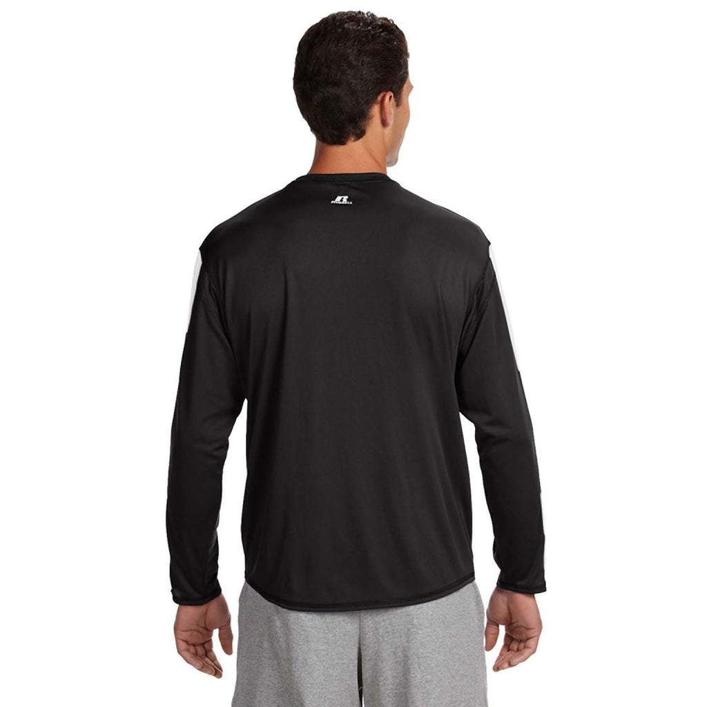 Russell Athletic Men's Black/White Long-Sleeve Performance T-Shirt