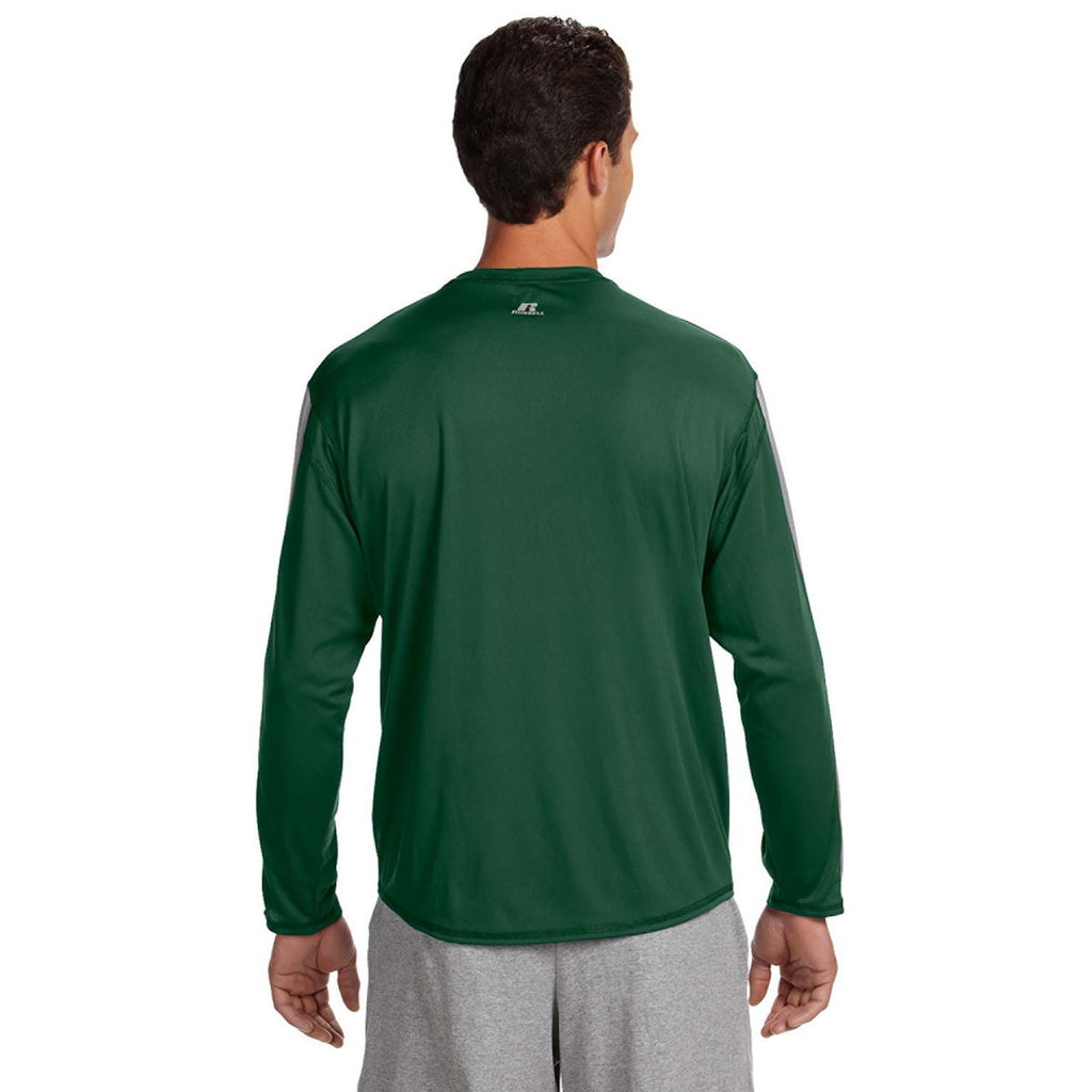 Russell Athletic Men's Dark Green/Steel Long-Sleeve Performance T-Shirt