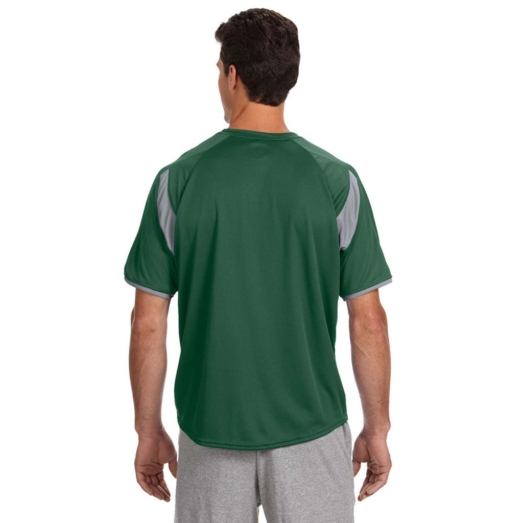 Russell Athletic Men's Dark Green/Rock Dri-Power T-Shirt with Colorblock Inserts