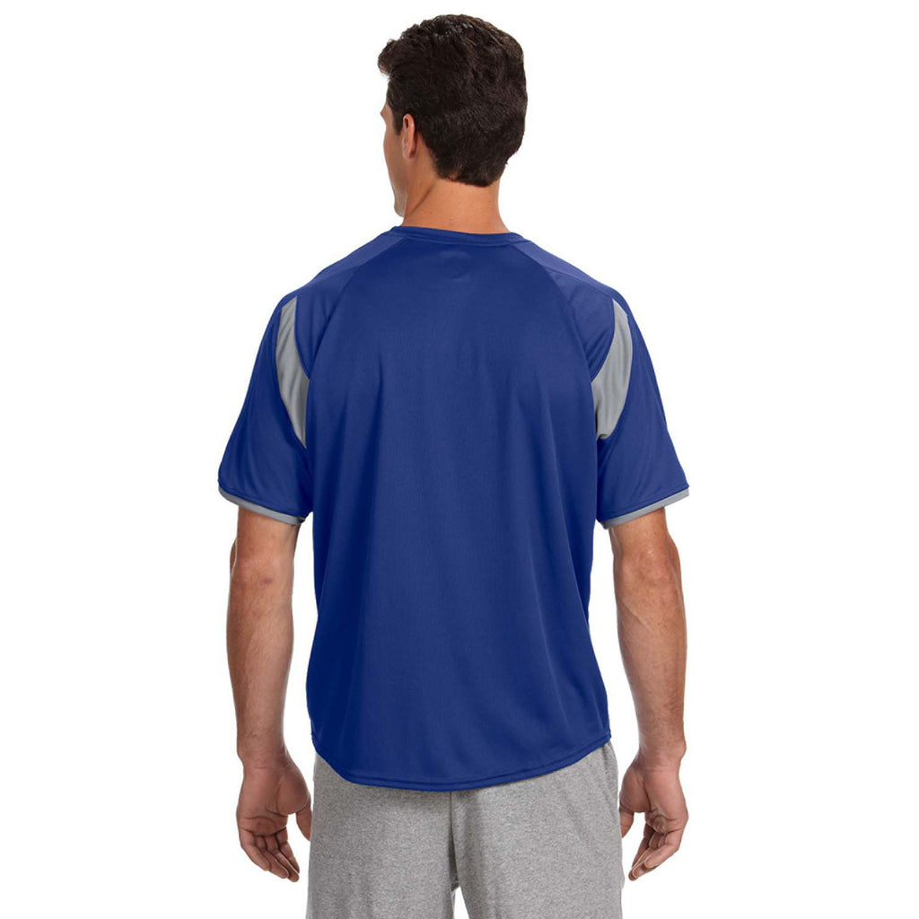 Russell Athletic Men's Royal/Rock Dri-Power T-Shirt with Colorblock Inserts