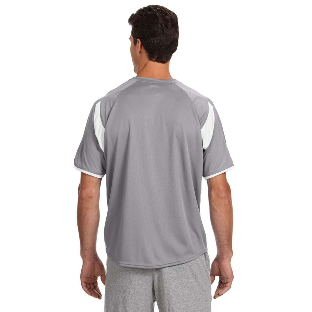 Russell Athletic Men's Steel/White Dri-Power T-Shirt with Colorblock Inserts