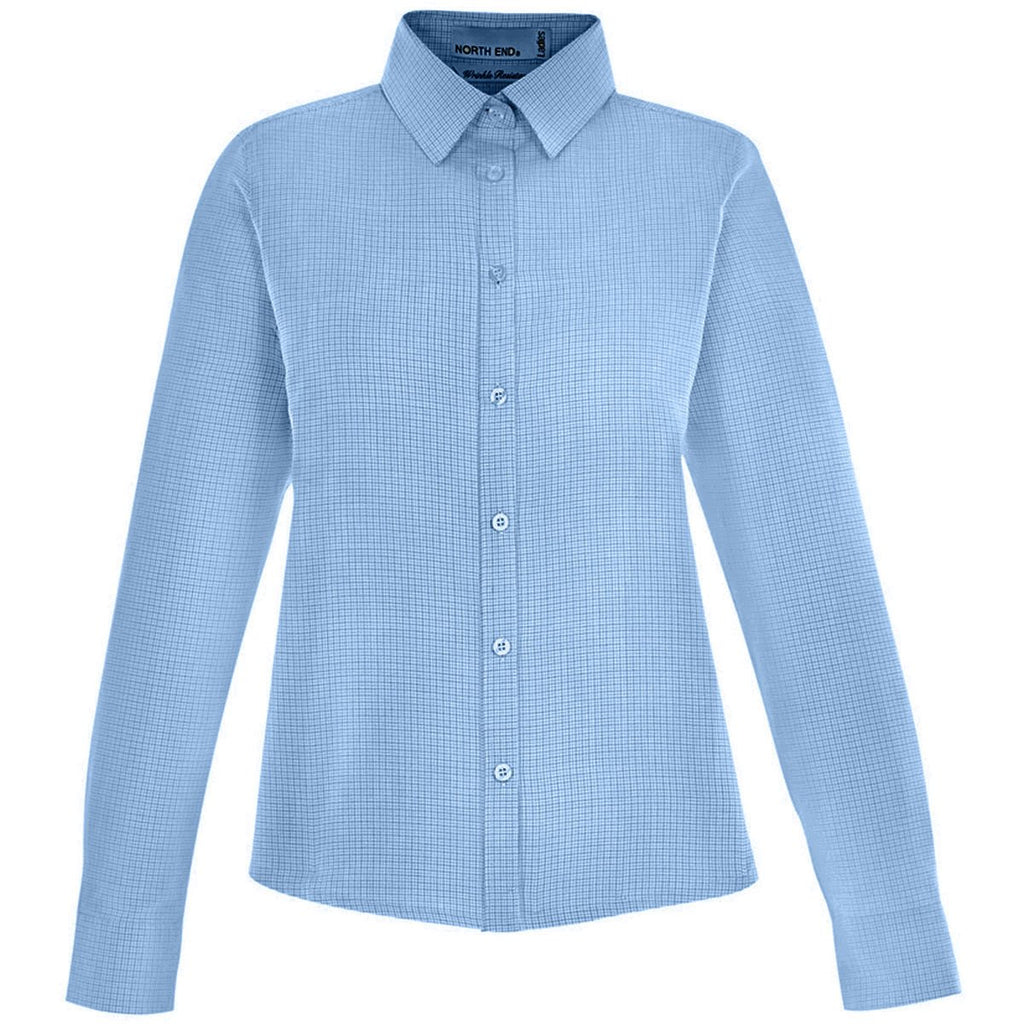 6a8975b9e North End Women's Light Blue Paramount Wrinkle-Resistant Twill Checkered  Shirt. ADD YOUR LOGO