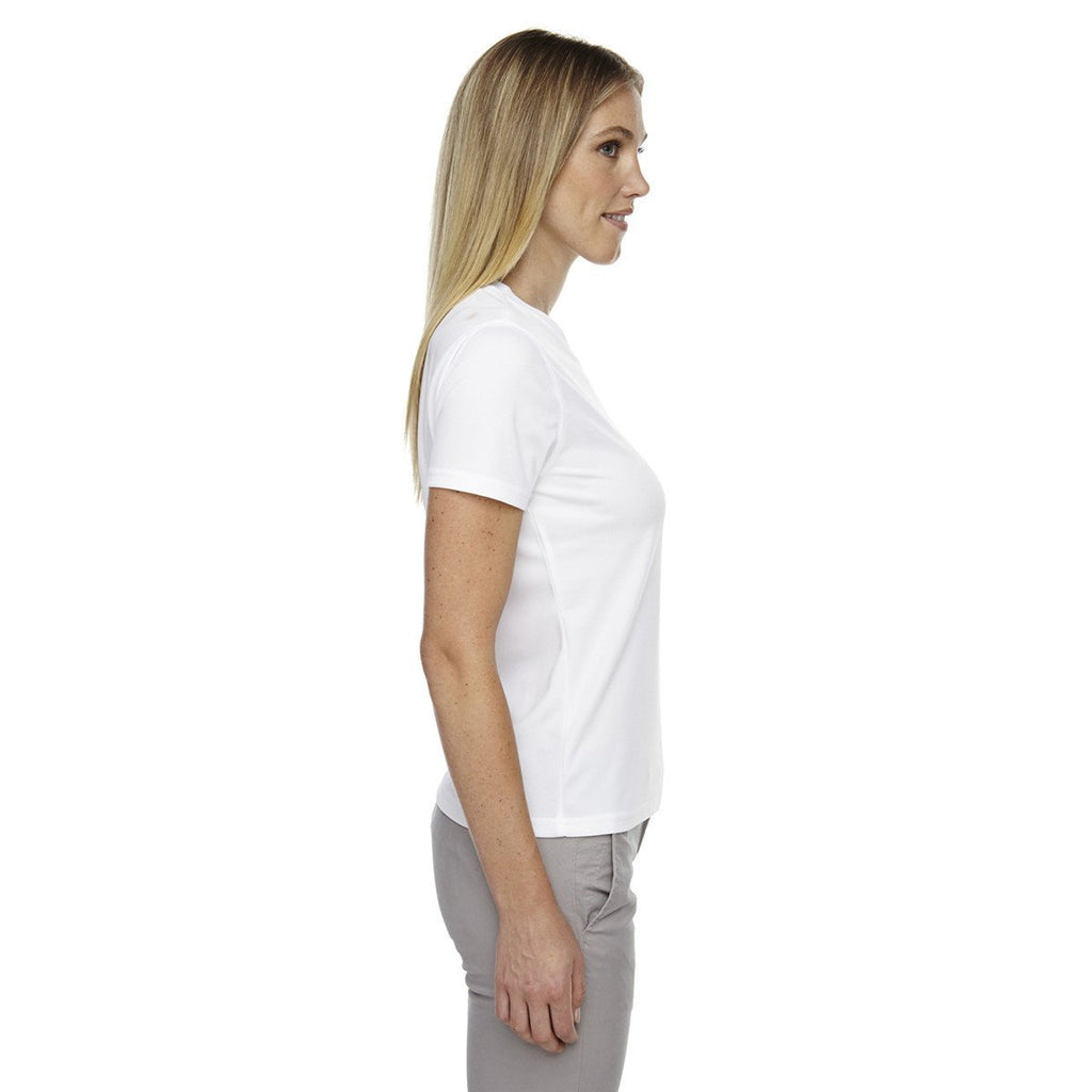 Core 365 Women's White Pace Performance Pique Crewneck