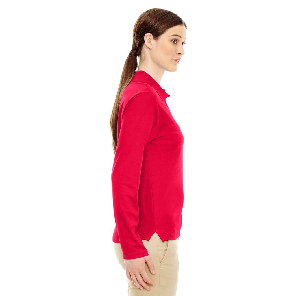 Core 365 Women's Classic Red Pinnacle Performance Long-Sleeve Pique Polo