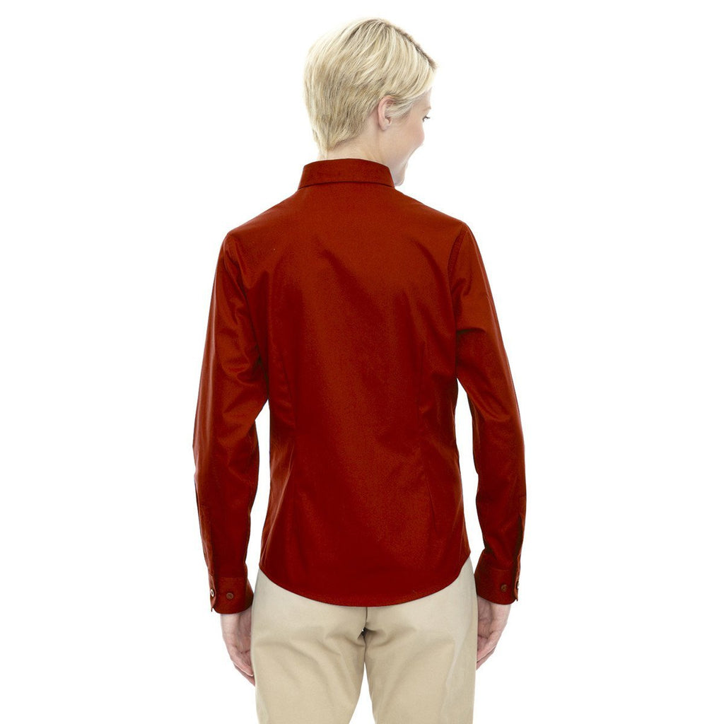 Core 365 Women's Classic Red Operate Long-Sleeve Twill Shirt