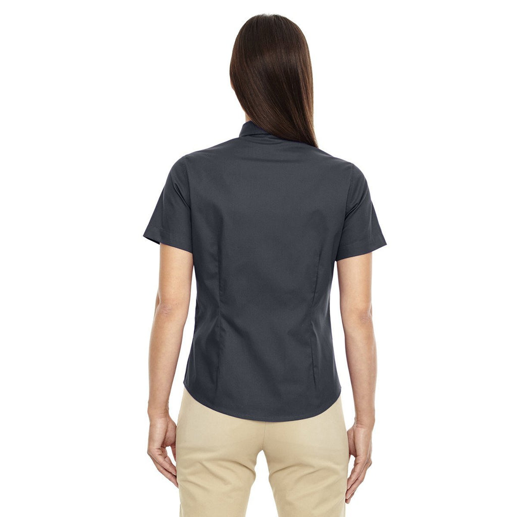 Core 365 Women's Carbon Optimum Short-Sleeve Twill Shirt